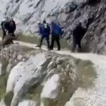 Ορειβάτες τρομοκρατούνται όταν ένας αγριόxοιρος εμφανίζεται μπροστά τους....VIDEO